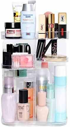 DreamGenius 360 Rotating Makeup Organizer, DIY Adjustable Makeup Carousel Spinning Holder Storage Rack, Large Capacity Make up Caddy Shelf Cosmetics Organizer Box, Best for Countertop, Square