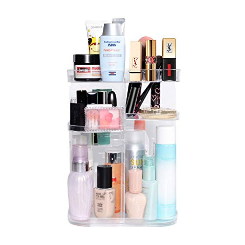 DreamGenius 360 Rotating Makeup Organizer, DIY Adjustable Makeup Carousel Spinning Holder Storage Rack, Large Capacity Make up Caddy Shelf Cosmetics Organizer Box, Best for Countertop, Square ()