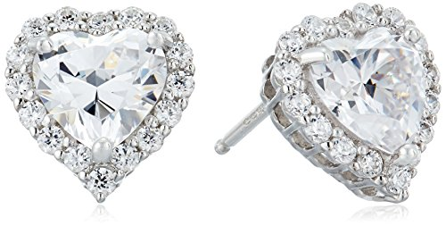 (Platinum Plated Sterling Silver Simulated Birthstone Heart Stud Earrings with Swarovski Zirconia Accents Earrings)