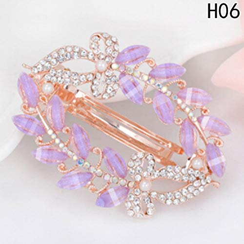 ower Hollow Hair Clip Colorful Painted Hairpin For Bridal Women Rhinestone Hair Pin Headdress H06 ()