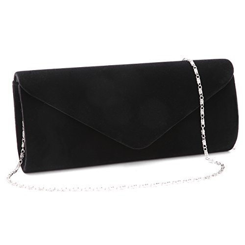 Velvet Envelope Clutch Evening Bag Wedding Purse Formal Bag for Women Girl Black.