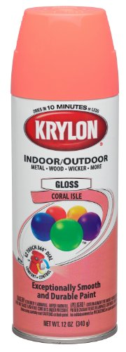 Interior Paint Aerosol - Krylon (K05210307-6 PK) Coral Isle Interior/Exterior Decorator Paint - 12 oz. Aerosol, (Case of 6)