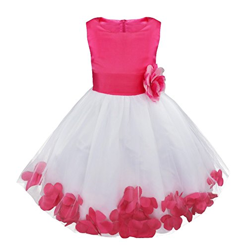 Satin Sundress - iiniim Girls Petals Tulle Princess Wedding Pageant Party Flower Girl Dress Rose Petals 6
