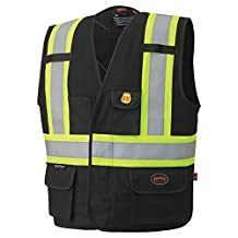 Pioneer V2510470-S Flame Resistant Unlined Safety Vest, 100% Cotton, Black, S