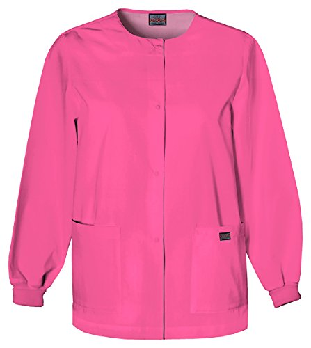 Cherokee Women's Traditional Snap Front Warm-Up Jacket_Shocking Pink_5XL,4350