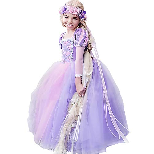 CQDY Rapunzel Costume for Girls Cosplay Party Princess Dress Up 2-13T Purple ()