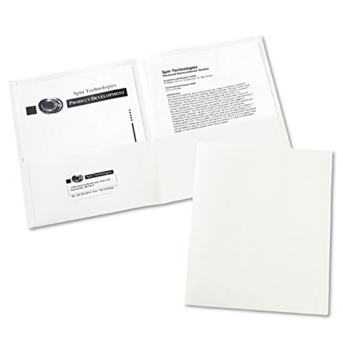40 Folders - Avery 47991 Two-Pocket Folder, 40-Sheet Capacity, White (Box of 25)