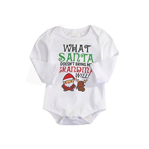 - Happy Town Unisex Baby Boys Girls My First Christmas Santa Claus Long Sleeve Bodysuit Romper Outfits (White#2, 0-6 Months)