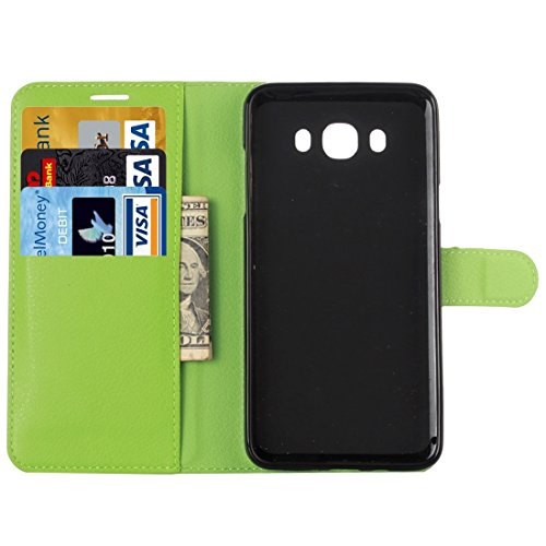 Fashion & personality Para la galaxia A5 / A500F de Samsung Caja de cuero horizontal del tirón de la textura del lichí con el sostenedor y las ranuras para tarjeta y la carpeta ( Color : Black ) Green