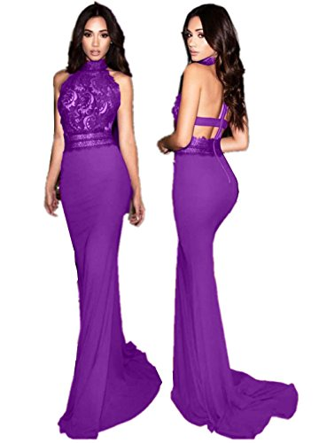 Sweet Bridal Women's Mermaid Evening Gown Halter Lace Party Prom Dresses Purple US2