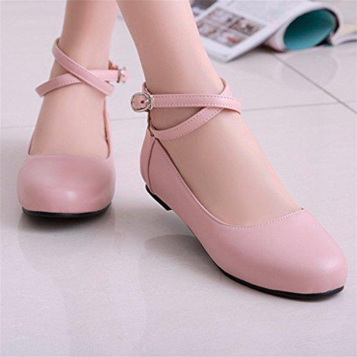 Odetina Womens Pu Balletto Piatto Mary Jane Scarpe Da Ballo Con Cinturino Incrociato Alla Caviglia Rosa