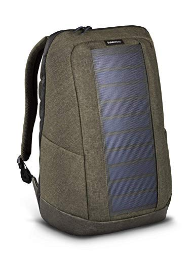 SUNNYBAG ICONIC solar backpack in olive brown, 7 Watt solar panel, Charge all Smartphones