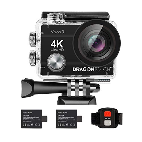 Dragon Touch 4K Action Camera 16MP Vision 3 Underwater Waterproof Camera 170° Wide Angle WiFi Sports Cam with Remote 2…