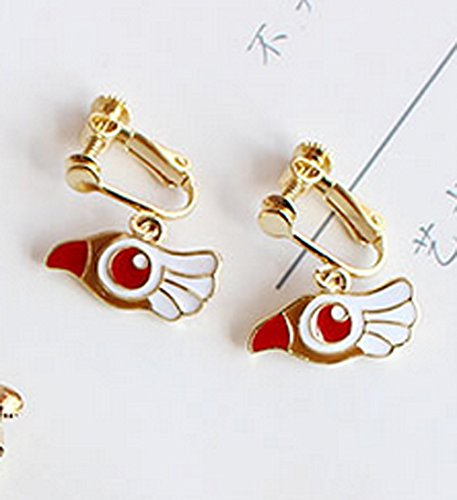 Screw Back Clip on Earring Clip for No Piercing Dangle Bird Head Enamel Gold Plated for Teens