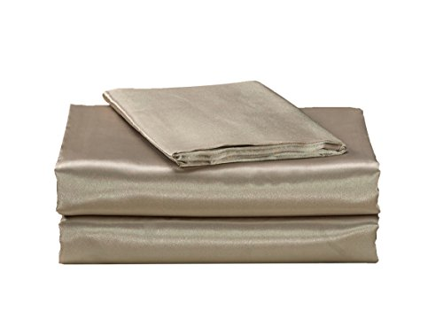 EliteHomeProducts EHP Super Soft and Silky Satin Sheet Set (Solid/Deep Pocket) (King, Taupe)