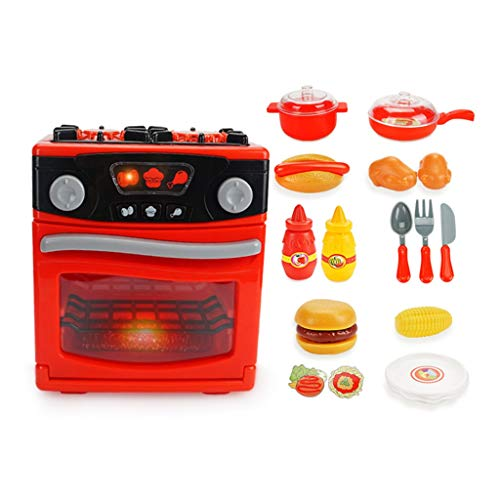 Kitchen Toys Kitchen Playsets Kitchen Playsets/Child Mini Simulation Oven/Simulation Sounds/Educational Toys/Environmental ABS/Gift Set (Color : Red, Size : 17.51019.5cm)