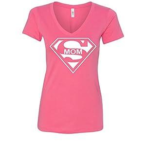 Super Mom Funny Women's V-Neck T-Shirt Superhero Parody Mother's Day Tee