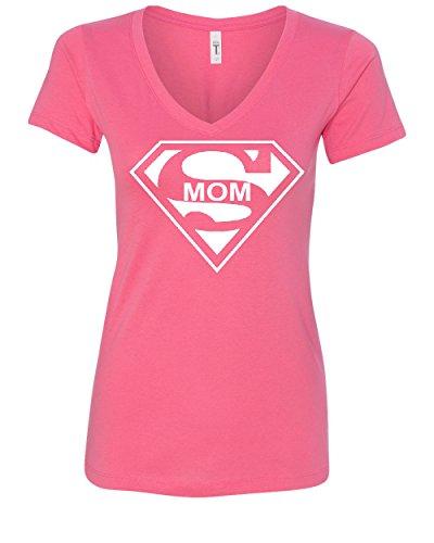 Super Mom Funny V-Neck T-Shirt Superhero Parody Mother's Day Pink XL