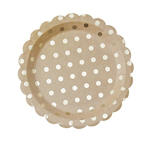 Ginger Ray PM-955 Pick and Mix Kraft & Polka Dot Paper Party Plates (8 Pack), Gold, 22 cm, -