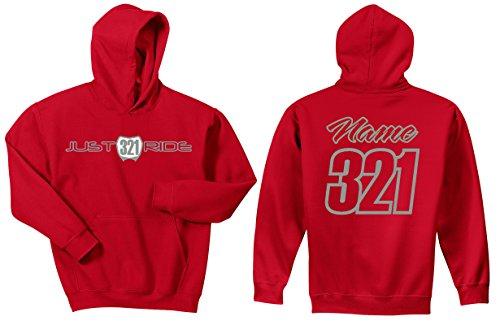 Sweatshirt Hoody Honda (JUST RIDE Motocross Hoodie Sweatshirt Number Plate Custom Personalized Red Honda (Medium, RED-Grey))