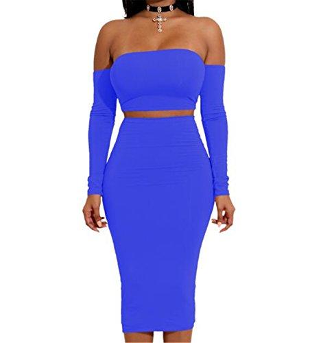 Buetyart Femmes Robe Longue En Dentelle À Manches Dans Le Dos Robe Crayon De Robes Midi Deux Pièce D'épaule Clubwear Bleu