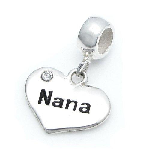 Dreambell 925 Sterling Silver Love Nana Heart CZ Crystal Pendant Family Bead For European Charm Bracelets