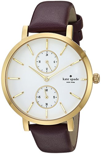 - kate spade new york Women's Monterey Stainless Steel Analog-Quartz Watch with Leather-Calfskin Strap, Purple, 16 (Model: KSW1334)
