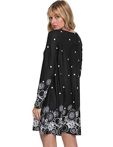 Floral Printed Black Loose ROMWE Long Women's Sleeve Dress 5 Tunic Casual w7XqHI