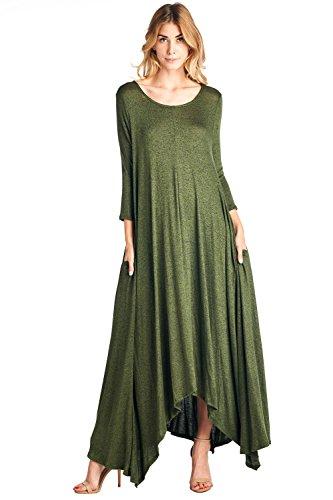 (12 Ami Solid 3/4 Sleeve Pocket Loose Maxi Dress Olive 2 Tone Knit L)