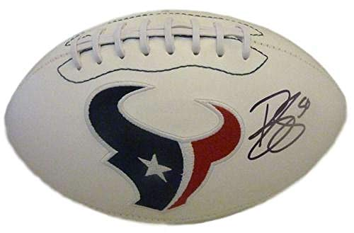 Brian Cushing Autographed/Signed Houston Texans White Logo Football JSA