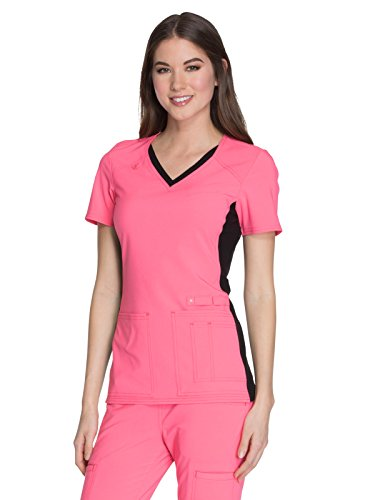 Cherokee iFlex CK605 V-Neck Top Karma Pink with Black Contrast 5XL from Cherokee