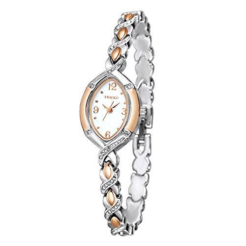 TIME100 Armbanduhr Damen Edelstahl Silber Diamant Ovale Shell Analog Quarz Edelstahl #W50170L.01A