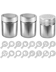 AIFUDA 3 Pack Stainless Steel Powder Shaker with 16 pcs Printing Molds Stencils, Powder Cans with Mesh for Coffee Cappuccino Latte, Dredge Shaker with Hole for Kitchen, Restaurants