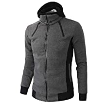 WuyiMC Hoodie Jacket Men's Autumn Winter Warm Casual Zipper Long Sleeve Hooded Coat Top Blouse Jacket