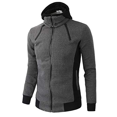 Toimothcn Men's Warm Full-Zip Coat Jacket Casual Long Sleeve Windbreak Sweatshirt(Dark ()