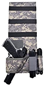 Explorer Tactical Adjustable Under Mattress Bed Seat Vehicle Car Pistol Handgun Gun Holster Holder Universal with Tactical Flashlight Loop