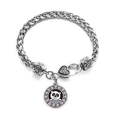 Inspired Silver Peeking Panda Circle Charm Braided Bracelet Silver Plated with Crystal Rhinestones