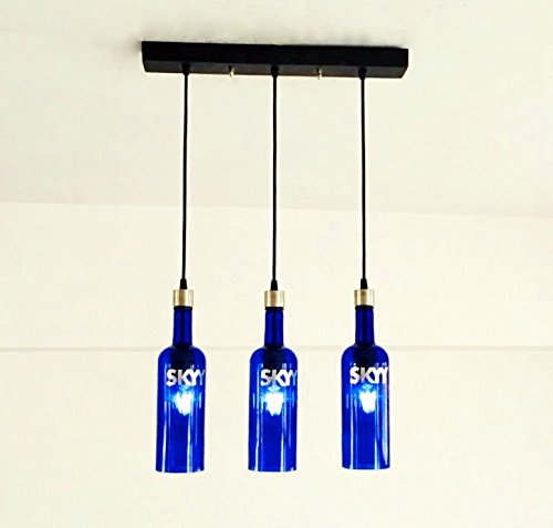 SKYY VODKA BOTTLE Industrial Light fixture - Chandelier - Ceiling Lamp for home, Restaurant & Bar Island