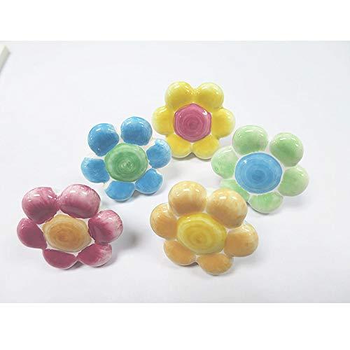 Ceramic children's room drawer handle Cabinet door handle Rural sweet flower shaped handle Cute cartoon wardrobe children pulls - (Color: Yellow with pink)