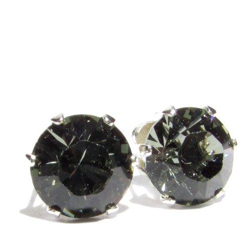 5bd4c74ecd016 Gentlemen-Earring 925 Silver Swarovski Black Diamond Crystals Stud ...
