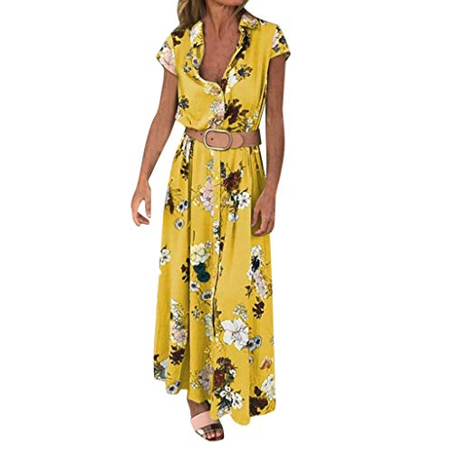 Ladies Dress Plus Size V-Neck Floral Summer Long Maxi Dress Casual Sundress Yellow -