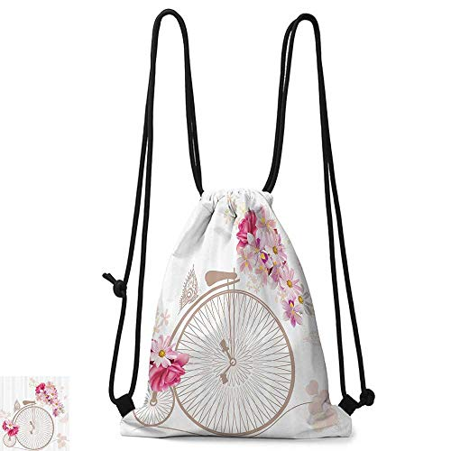traveling backpack Vintage Decor Bicycle with Basket Full of Flowers Daisy Rose Bridal Wedding Wheels Image W14