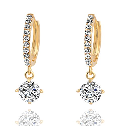Mysky 1 Pair Women Fashion Crystal Rhinestone Round-Shaped Ear Stud Earrings -