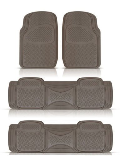 (BDK Heavy Duty VAN SUV Rubber Floor Mats - 4 Pieces 3 Rows Full Set- All Weather Trimmable Mat (Beige))