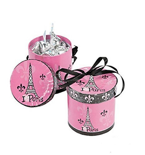 Fun Express Perfectly Paris Hat Party Treat Boxes - Set of (Eiffel Tower Merchandise)
