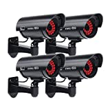 Masione 4 Pack Outdoor Fake/Dummy Security Camera with 30 Illuminating LED Light (Black) CCTV Surveillance