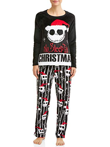 Disney Jack Skellington Nightmare Before Christmas Women's and Women's Plus Pajama Set,Black White,S 4/6]()