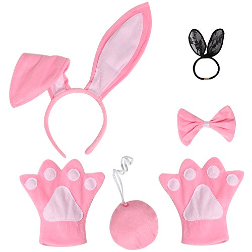 JustinCostume Bunny Cosplay Set Ears Tail Bowtie Paws Hair Tie, Pink (Adult Easter Bunny Costumes)