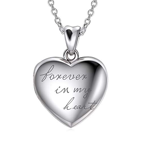 925 Sterling Silver Personalized Picture Locket Necklace Photo Heart Locket Pendant Necklace, Forever in My Heart Engraved Any Name Word Symbol Date Number (Locket Necklace)