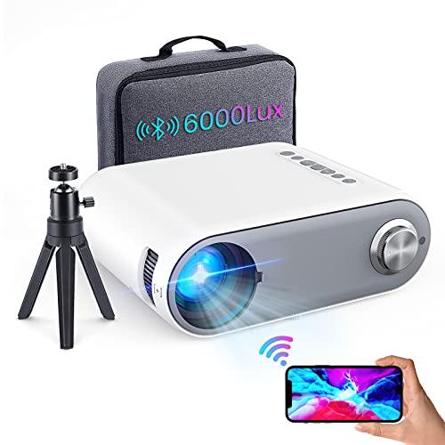 Beamer Full HD WiFi Bluetooth,6000 Lumen Mini Beamer Cube Unterstützung 1080P Full HD, Heimkino Beamer Projektor mit TV Stick/Type C/Android/iOS/HDMI/USB/SD/VGA